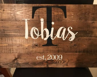 Personalized Wooden Sign with Established Year-Style 1