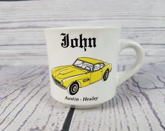 Vintage John Austin Healey Yellow Car Mug Coffee Cup Novelty Retro Decor Break Time Tea Hot Beverages Gift Papel Japan CustomCard