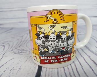 Vintage Cow Country Farm Member of the Herd Mug Coffee Cup Novelty Retro Decor Break Time Tea Hot Beverages Gift Farmhouse 1988 Summit Korea