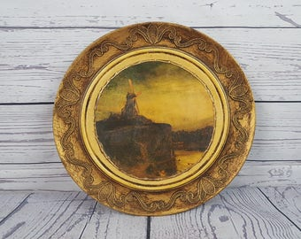 Vintage Landscape Beach Windmill Print on Bronze Colored Wood Decorative Plate Ocean Windmills Sailboat Wall Hanging Ornament