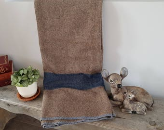 "Vintage Brown w/ Wide Blue Stripe Virgin Wool Blanket / 56"" x 72"" / Rustic Cabin Decor Bedroom or Living Room / Single Bed Blanket Bedding"