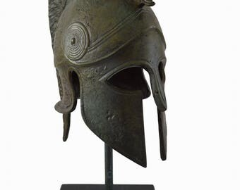 Ancient Greek small Helmet  bronze marble based reproduction artifact
