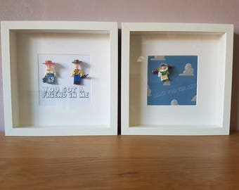 Toy story//Disney//Handmade to order//Minifigure//Happy//Sadness//Gift//Shadow Box Frame//Personalise//Keepsake//Wedding//Anniversary