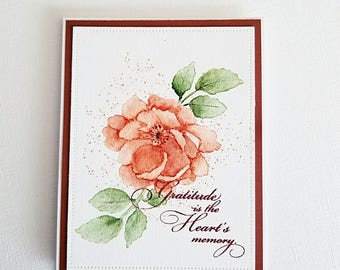 Watercolor art card, original watercolor card, watercolor card, handmade card, hand painted card, thank you card, flower card, art card