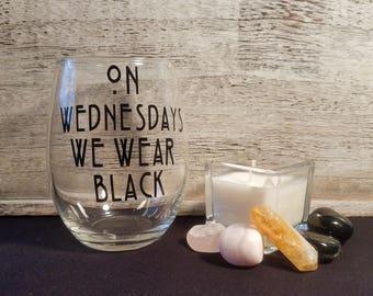 On Wednesdays We Wear Black | AHS | American Horror Story Inspired | Funny Wine Glass | Halloween Wine Glass | Fall Wine Glass | Freak Show