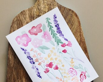 Floral Watercolor Card- Handmade- Colorful Flowers