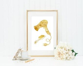Hair Dryer Brush Salon decor Gold Foil Print, gold leaf  quote art Gold  rose gold vintage gold foiled