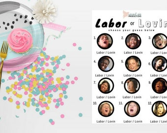 Printed - Labor or Lovin - Baby Shower Game