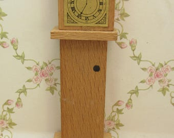 Vintage 1960s Dol-Toi Wooden Grandfather Clock for the Dolls House