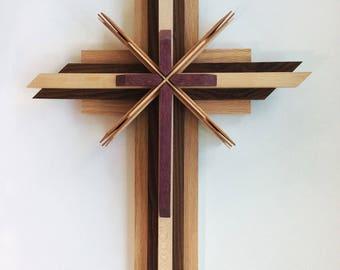 Wooden Cross using Oak, Roasted Oak, Maple, Purple Heart and Mahogany woods