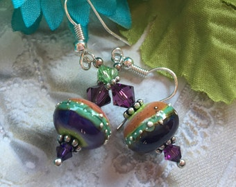 SALE - Purple and Blue Lampwork Earrings, Summer Earrings,Lampwork Earrings, Lampwork Jewelry, Gift For Her, SRA Lampwork Jewelry