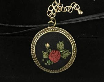 Rose embriodery Pendent, it comes with a choker or a chain (your choice)