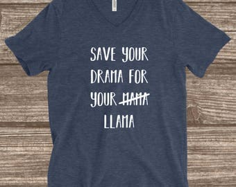 Llama Heather Navy Unisex T-shirt - Save Your Drama For Your Llama - Llama T-shirt - Mama Llama - Mama Drama Shirt - Llama