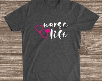 Nurse Life Dark Heather Grey T-shirt - Nurse Shirts - Gift for Nurse - Nurse Gift - Nurse Graduation Gift