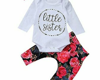Little Sister, Floral, 3 Piece, Pant Set
