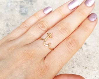 Initial ring letter T ring personalized wire initial ring wire ring personalized ring, adjustable ring, wire letters, letter ring 22k gold |