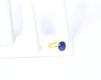 sapphire ring , round ring , gemstone ring , gold plating ring, adjustable ring , stacking ring , September birthstone ring, 50% off on sale