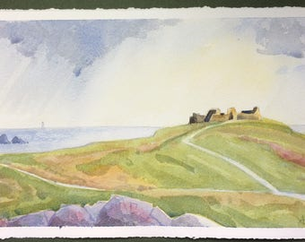 Coast and Island Series:  Castle ruins and passing storm, Isles of Scilly