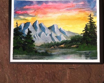 Watercolor Painting: Sunset over the Mountains