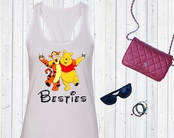 Winnie the Pooh and Tigger Besties Tank. Super Cute Disneyland Top. Disneyworld Tank. Family Disney Shirts.Besties tank. [E0522]