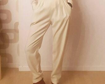 Vintage 1980 wool pants in cream colour