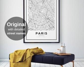 Paris Map Print, Paris Carte, Paris City, Paris Map Poster, France City, City Map Print, Black and White Map, France, France Print, Wall Art