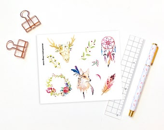 Decorative planner stickers - 9 watercolour boho stickers for bullet journals and planners, feather stickers, watercolor stickers