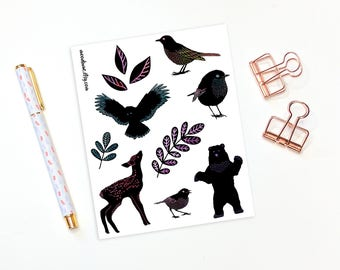 Decorative planner stickers - 11 woodland animal stickers, bullet journal stickers, plannet stickers, animal stickers, forest stickers