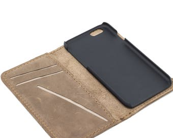 Distressed Leather iPhone Wallet, Leather iPhone Case, Phone Wallet, Magnetic iPhone Case, Minimalist iPhone Wallet - McLean Sand Brown