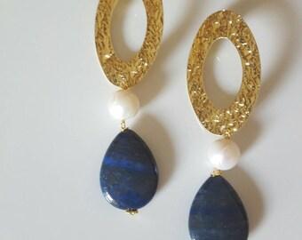 Lapislazuli and pearls earrings