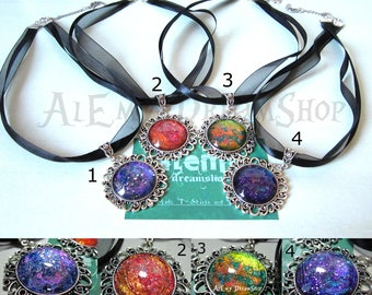 """Collars with large cameo (25 mm) in depth """"Metal Rainbow"""""""