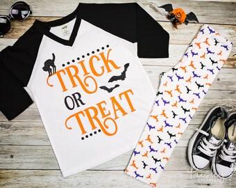 Trick Or Treat - Halloween Tshirt - Halloween - Bat Shirt - Girls Halloween Shirt - Cute Halloween Shirt - Toddler Halloween - Scary Cat Tee
