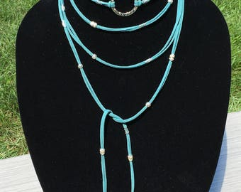 Wrap Necklace, Teal Beaded Wrap Necklace, Faux Suede Necklace, Boho Beaded Wrap Necklace, Bohemian Necklace, Lariat Wrap, YoungBeadsCrafts