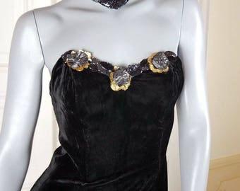 American Vintage Black Velvet Mini Dress, Short Little Black Dress w Choker Collar, Sleeveless Strapless Black Dress, LBD: Size 6 US, 10 UK