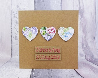 Floral hearts wedding card, Handmade congratulations card, Personalised floral wedding card, Vintage style hearts, Card for couple
