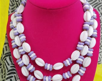 Fun & Charming!  Triple Strand Plastic Beaded Necklace from Hong Kong