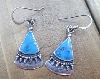 Vintage Southwest Turquoise Earrings Native American Sterling Silver Artisan 3.7 Grams