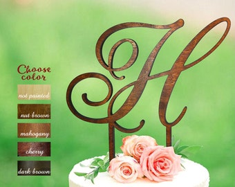 h cake topper, letter cake topper, cake topper wedding, initial cake topper, monogram cake topper, rustic cake topper, topper wood h, CT#108