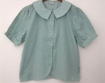 Vintage blouse / 80s blouse / cotton blouse / striped shirt / embroidered blouse / embroidered shirt / summer blouse / summer shirts