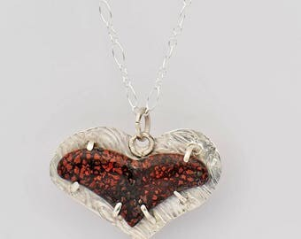 Red Dinosaur Bone Heart in Sterling Silver