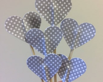 Gray polka dot cupcake toppers, heart cupcake toppers, wedding cupcake toppers, baby shower cupcake toppers