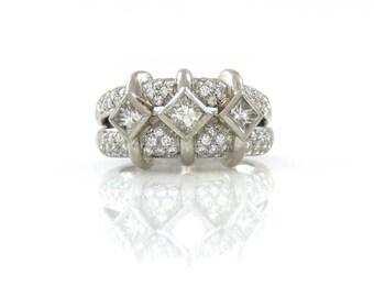 Designer Platinum Princess Cut Wedding Band by Carelle - X4460