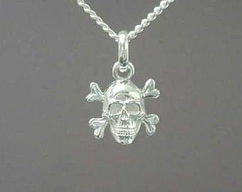 Skull necklace - Sterling silver skull necklace - Sterling silver pendant - Sterling silver necklace -  Skull pendant - Skull jewelry