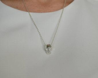 Skull pendant necklace - Sterling silver skull - Low poly silver pendant - Sterling silver necklace -  Skull pendant - Skull jewelry