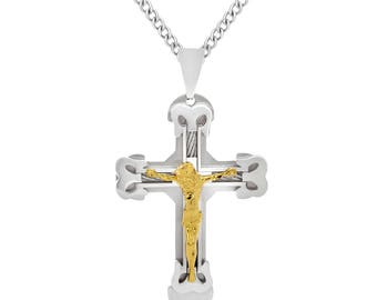 "Gold IP Plated Jesus Crucifix with Cable Inlay, Silver-tone Cross Necklace Pendant with Stainless Steel, 18""-24"" Chain"