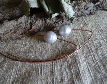 Raw copper pearl long big modern urban earrings gift women textured copper boho organic earrings