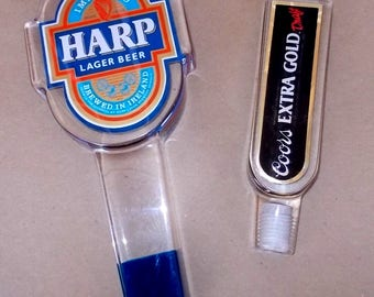 2 Beer Taps Harps Lager & Coors Extra Gold Lucite Both Very Good Condition