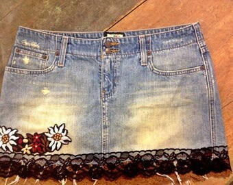Vintage Inspired Denim Skirt with Black and Brown Lace and Floral Applique