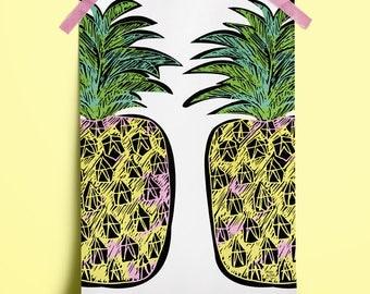 Pineapple Print No. 3: ideal birthday or housewarming gift. (A3 Digital Print)