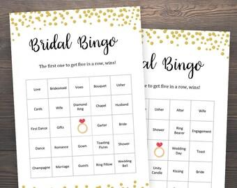 40 Prefilled Bridal Bingo Cards, Bridal Shower Games, Bingo Printable, Gold Confetti, Bachelorette Party Games, Gold Bingo Cards, J001